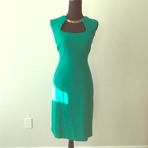 Green BCBG Dress with Gold detail in neckline